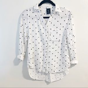 George white polka dot button down shirt